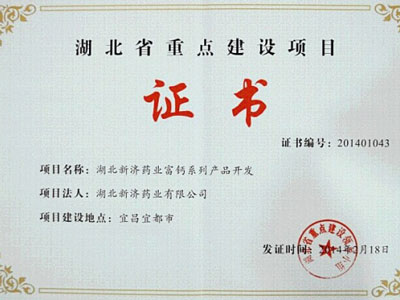 Hubei Key construction projects certificate